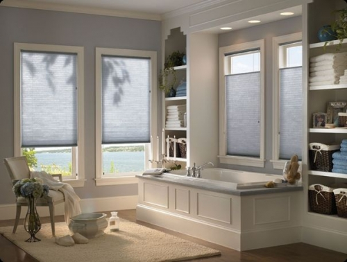 honeycomb shades interior light blue bath
