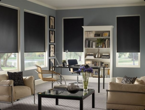 roller shades interior slate on blue walls