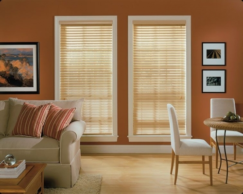 wood blinds natural on orange wall