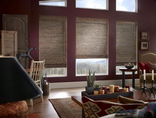 woven wood shades interior dark on burgundy wall