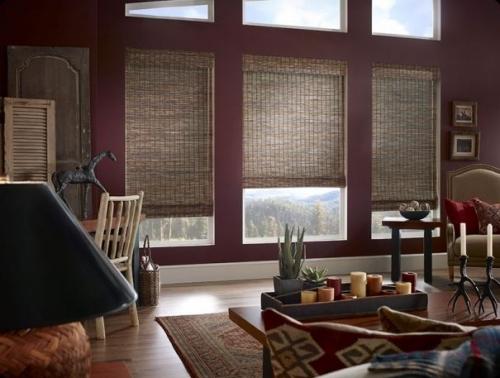 woven wood shades interior dark on burgundy wall